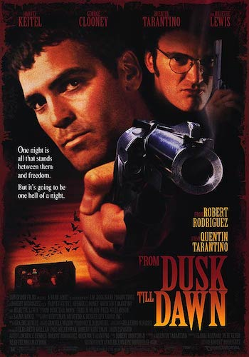 From Dusk till Dawn - Dir. Robert Rodriguez   imdb synopsis: Two criminals and their hostages unknowingly seek temporary refuge in a truck stop populated by vampires, with chaotic results.