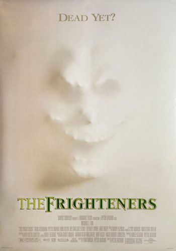 The Frighteners - Dir. Peter Jackson   imdb synopsis: After a tragic car accident that kills his wife, a man discovers he can communicate with the dead to con people. However, when a demonic spirit appears, he may be the only one who can stop it from killing the living and the dead.