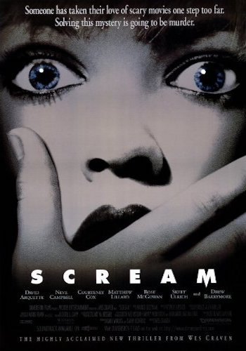 Scream - Dir. Wes Craven   imdb synopsis: A year after the murder of her mother, a teenage girl is terrorized by a new killer, who targets the girl and her friends by using horror films as part of a deadly game.