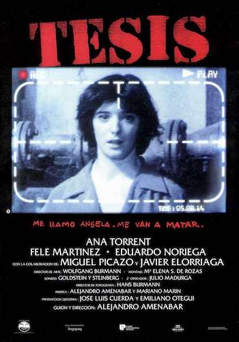 Thesis - Dir. Alejandro Amenábar   imdb synopsis: While doing a thesis about violence, Ángela finds a snuff video where a girl is tortured until death. Soon she discovers that the girl was a former student in her faculty...