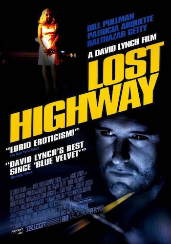 Lost Highway - Dir. David Lynch   imdb synopsis: After a bizarre encounter at a party, a jazz saxophonist is framed for the murder of his wife and sent to prison, where he inexplicably morphs into a young mechanic and begins leading a new life.