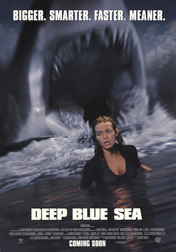 Deep Blue Sea - Dir. Renny Harlin   imdb synopsis: Searching for a cure to Alzheimer's disease, a group of scientists on an isolated research facility become the prey, as a trio of intelligent sharks fight back.