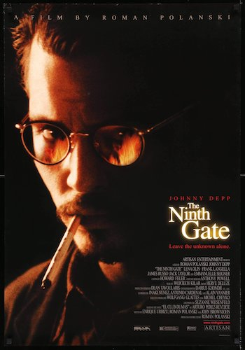 The Ninth Gate - Dir. Roman Polanski   imdb synopsis: A rare book dealer, while seeking out the last two copies of a demon text, gets drawn into a conspiracy with supernatural overtones.