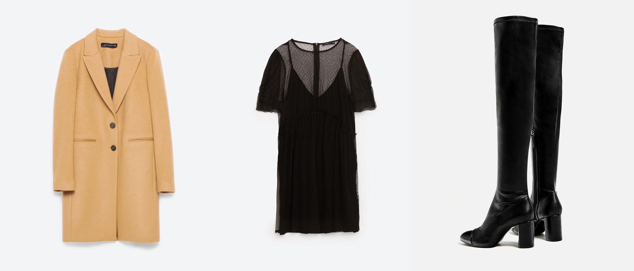 Masculine Coat in Camel     ($190) //   Tulle + Knit Dress   ($50) //   OTK High Heel Cap Toe Boots   ($90)