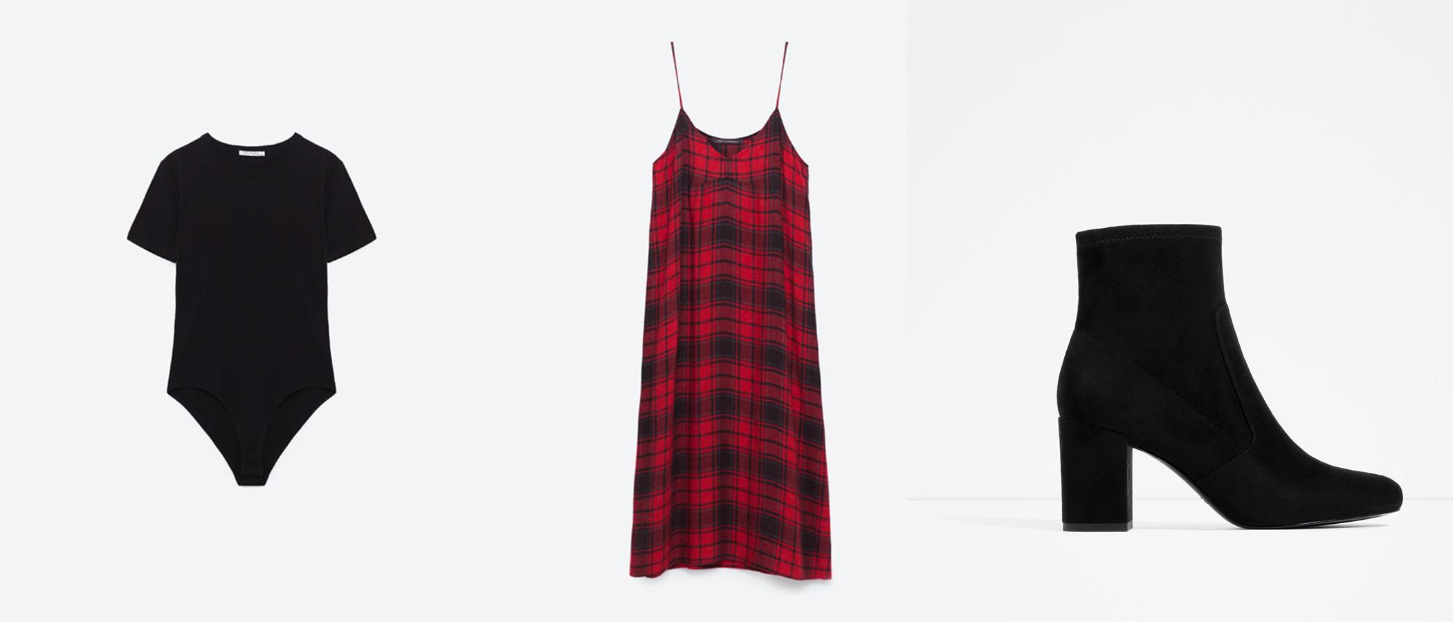 Short Sleeve Bodysuit   ($13) //   Checked Slip Dress   ($50) //   Elastic High Heel Ankle Boots   ($60)