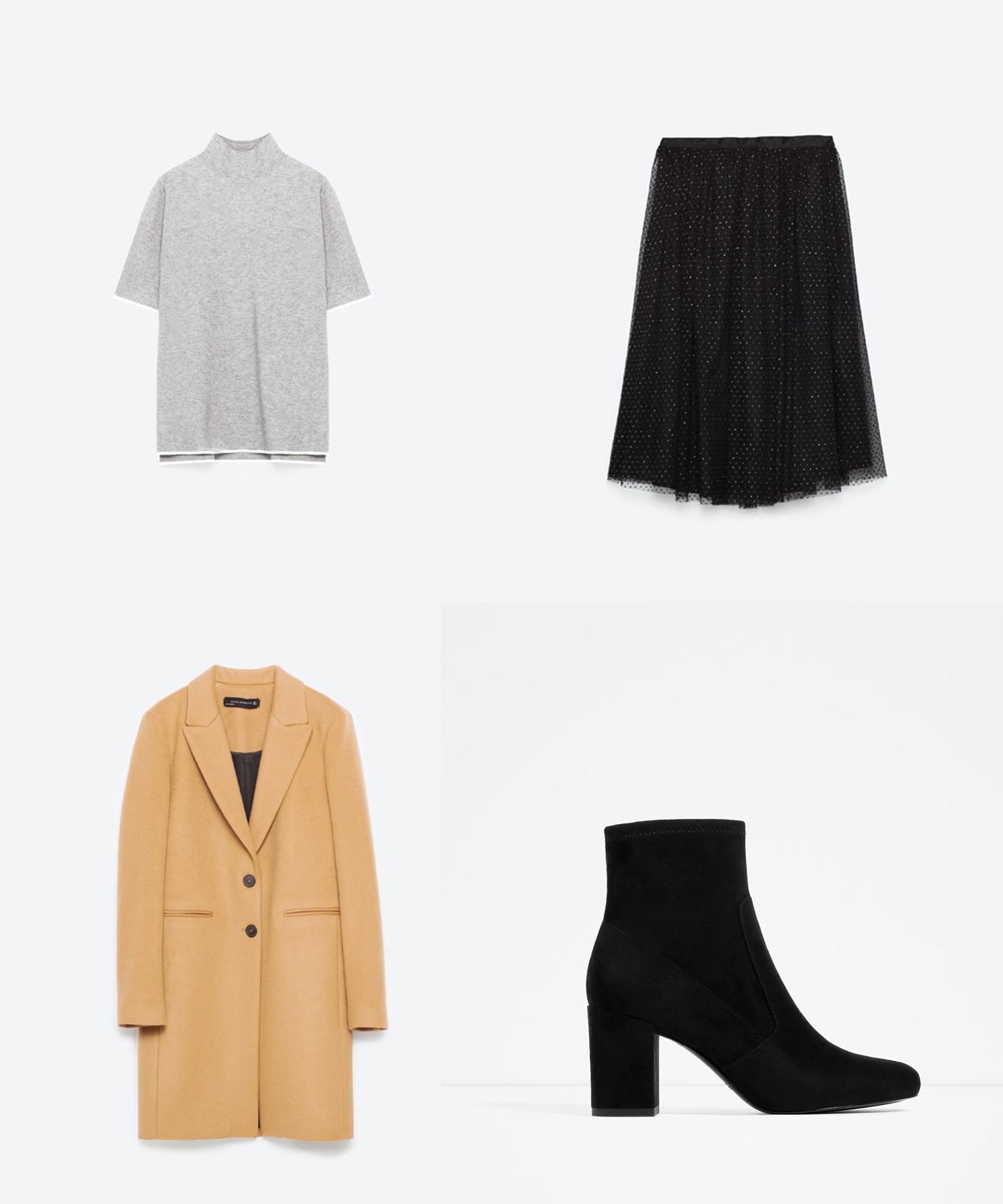 Turtleneck Sweater   ($40)   //     Tulle Skirt   ($50)   //     Masculine Coat in Camel   ($190)   //     Elastic High Heel Ankle Boots   ($60)