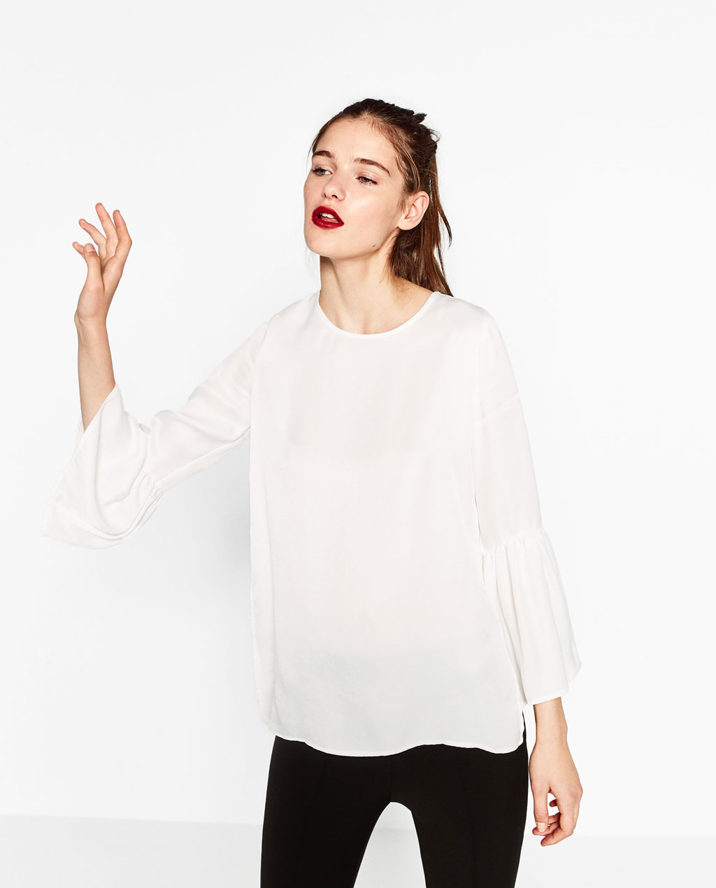 Flared Sleeve Glossy Blouse in White