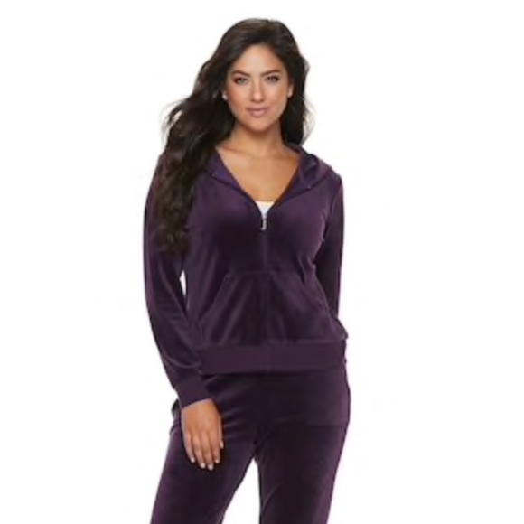 Juicy Couture Ultrasoft Velour Hooded Jacket Plum