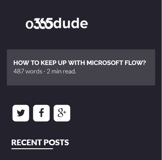 Keeping Up with MS Flow - The changes and updates come fast and furious for MS Flow. If you'd like to stay more up to date, here is a great post by Daniel Laskewitz(AKA o365 Dude) on how to stay up to date.