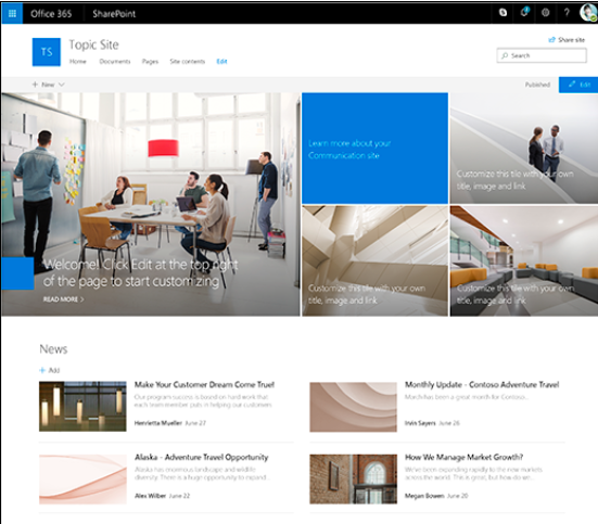 SharePoint Online Communication Sites - Wondering what these sites are and how you might use them in your organization? Microsoft has released this helpful article.