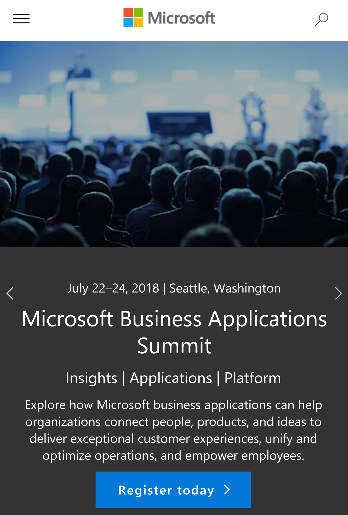 MS Business Applications Summit - July 22 - 24 in Seattle - Connect people, products and ideas. (Microsoft)