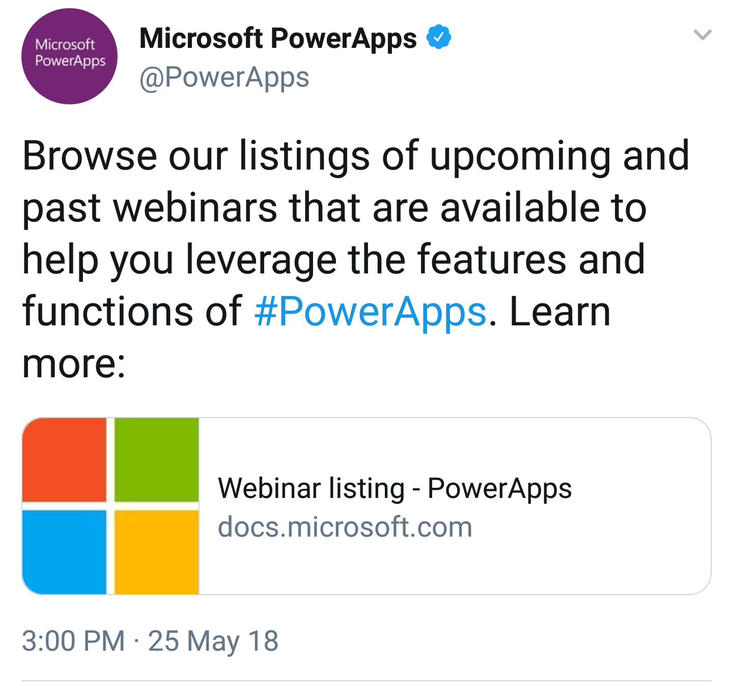PowerApps Webinar Listing - Learn something new today. (Microsoft)