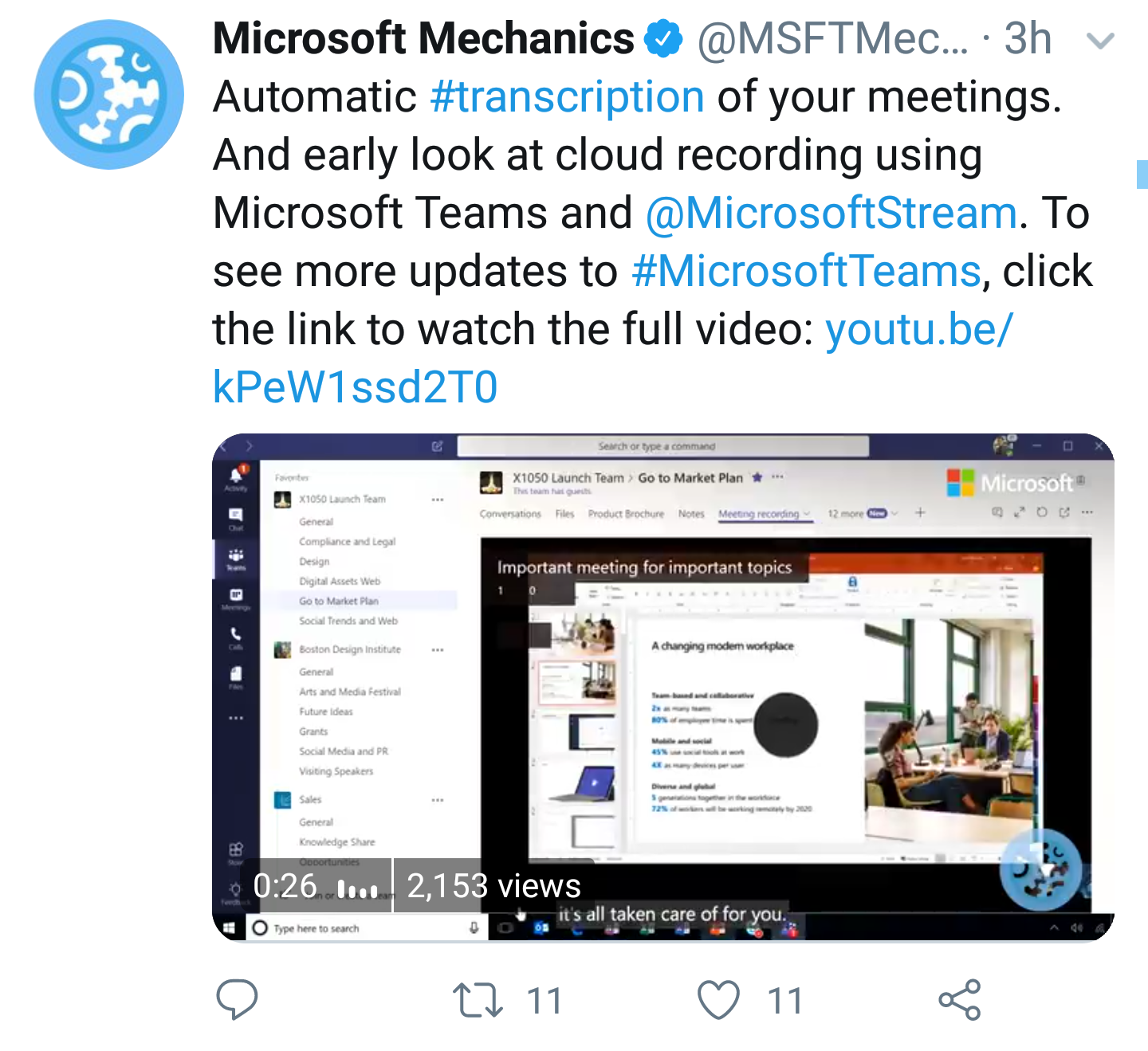 Video: Automatic Transcription and Recordings in Teams - Yet another great addition to Microsoft Teams. (YouTube)