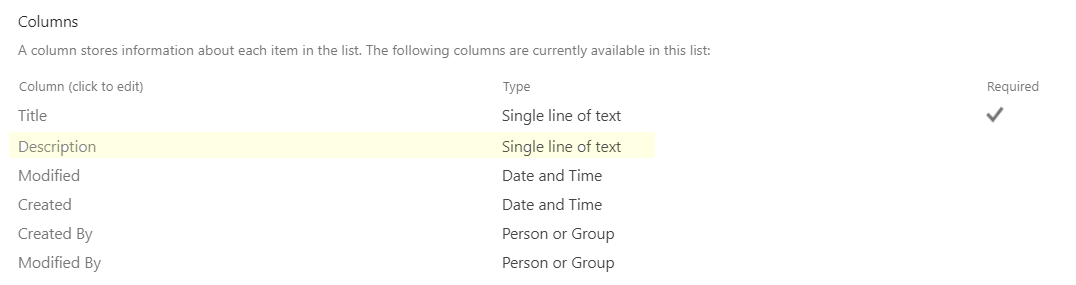 Create the List Manually:   Just create a custom list and add another column called Description (Single line of text).