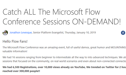 All Microsoft Flow Conference Sessions for on-demand Playback - Here are all of the sessions from the Microsoft Flow Conference! An absolute ton of great content