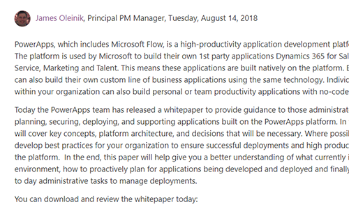 "PowerApps and Microsoft Flow Governance and Deployment Whitepaper - ""the PowerApps team has released a whitepaper to provide guidance to those administrators responsible for planning, securing, deploying, and supporting applications built on the PowerApps platform"""