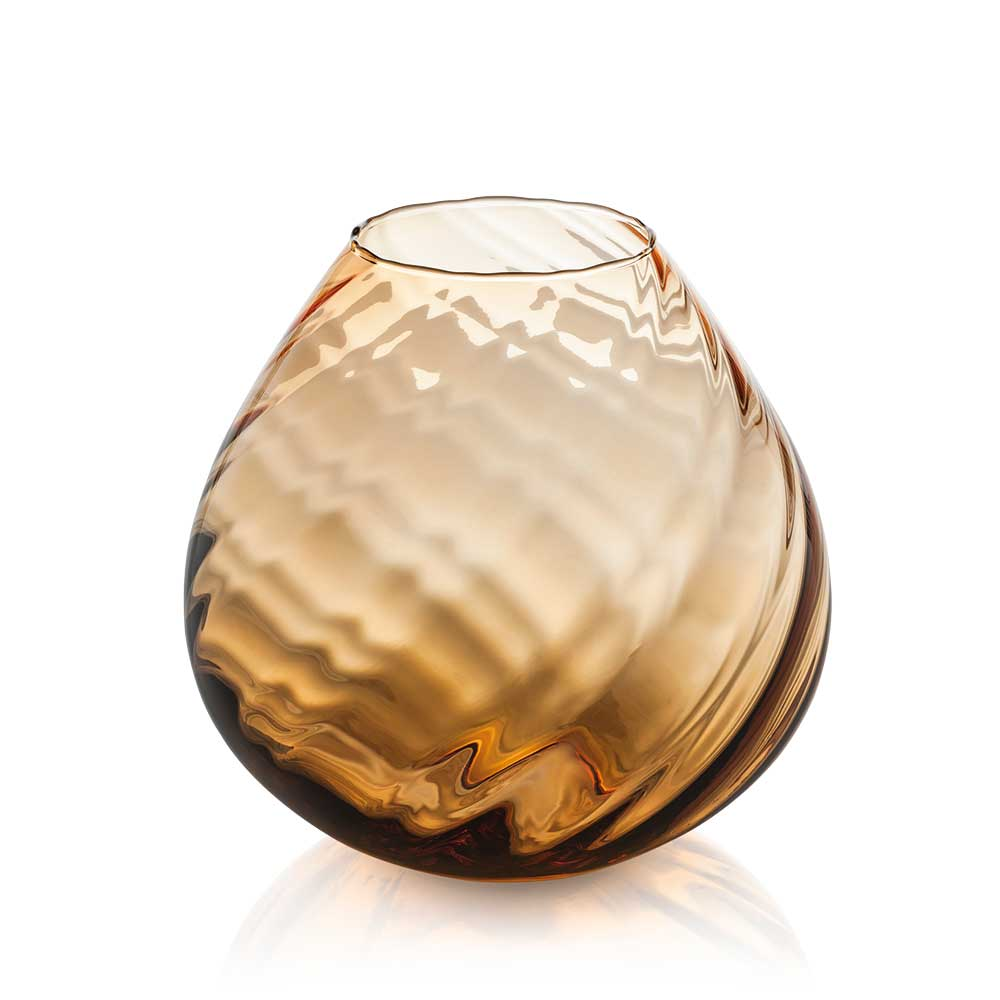Nuvola Vase Twisted Optic Amber, 10.25.jpg