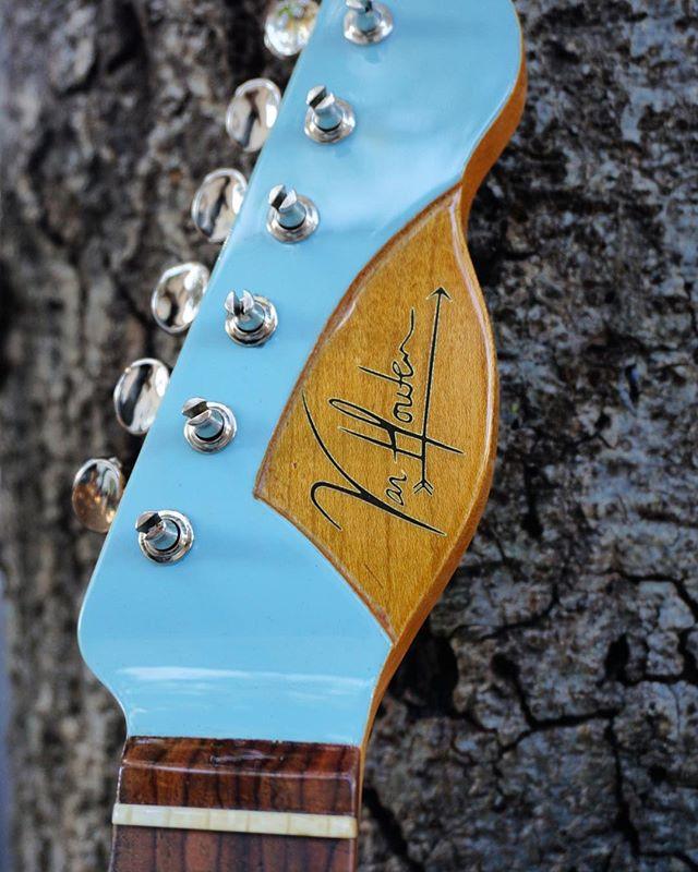New recessed headstock design! . . . . . #luthier #guitar #guitarbuilding #guitarbuilder #telecaster #sonicblue #vanhoutenguitars #woodworking #rosewood #maple