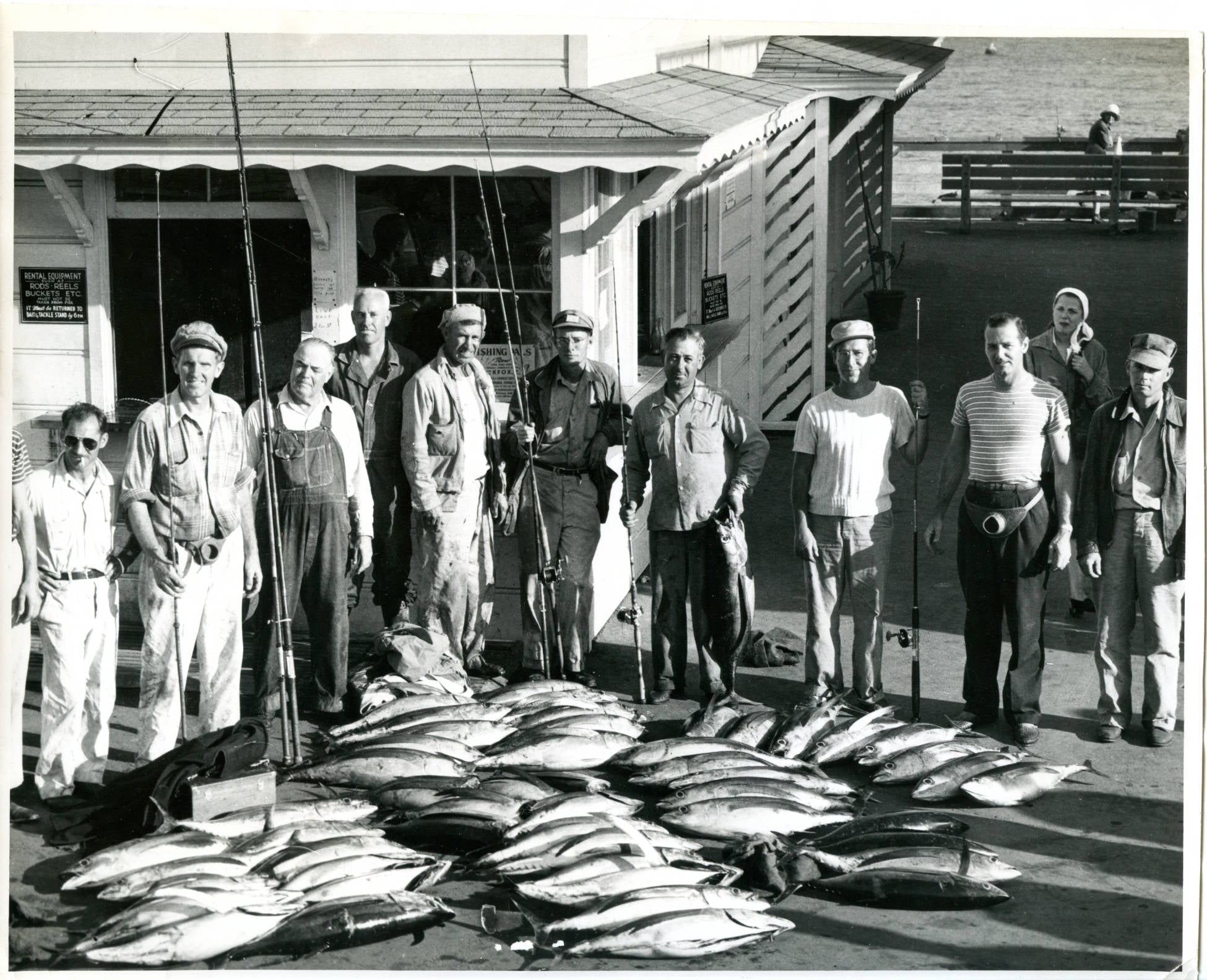 A days catch of yellow fin on the deck of the pier.  Circa 1945.