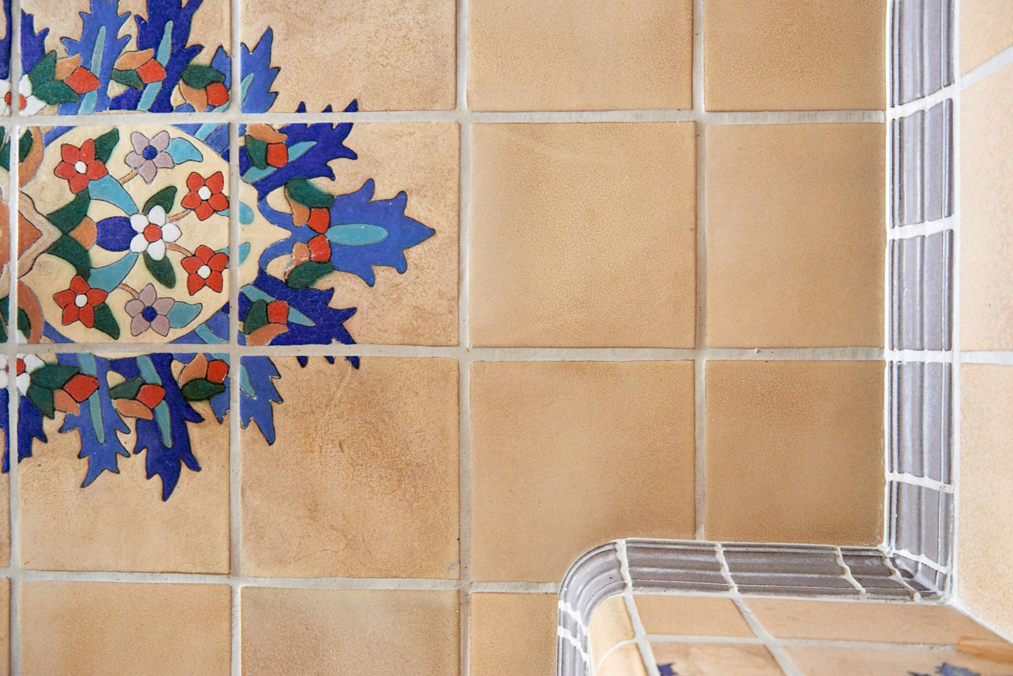 Sample of original Malibu Tile located in the Tower at the Pier.