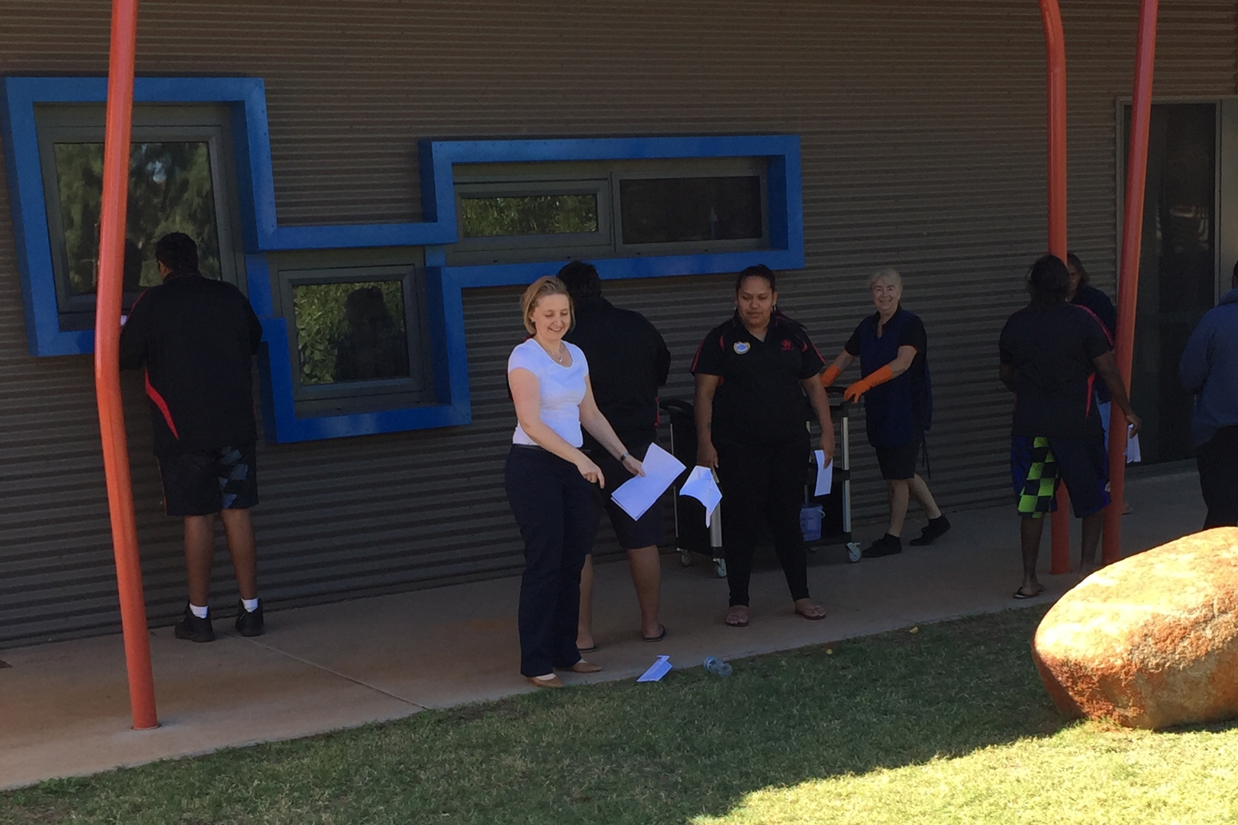 Alicia working with a team in Roebourne