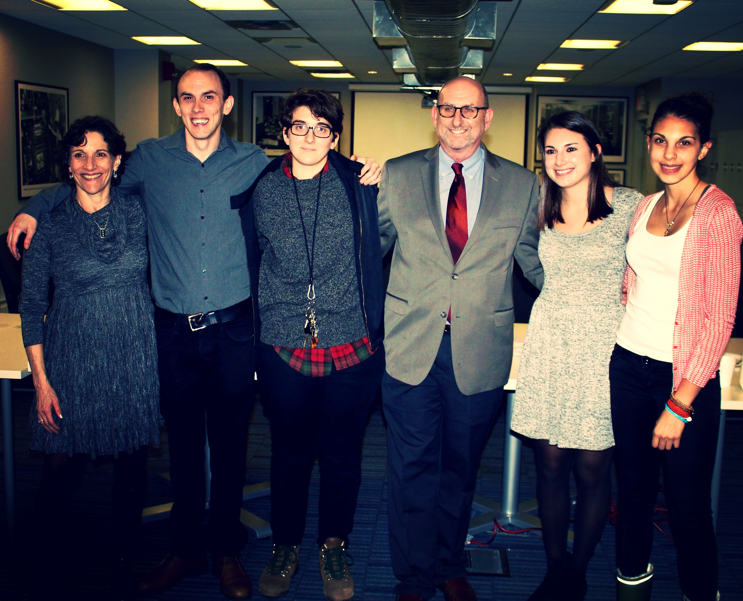 The graduates of the SBU MS Journalism Fall 2015 crew, plus two professors (far left and right-center).