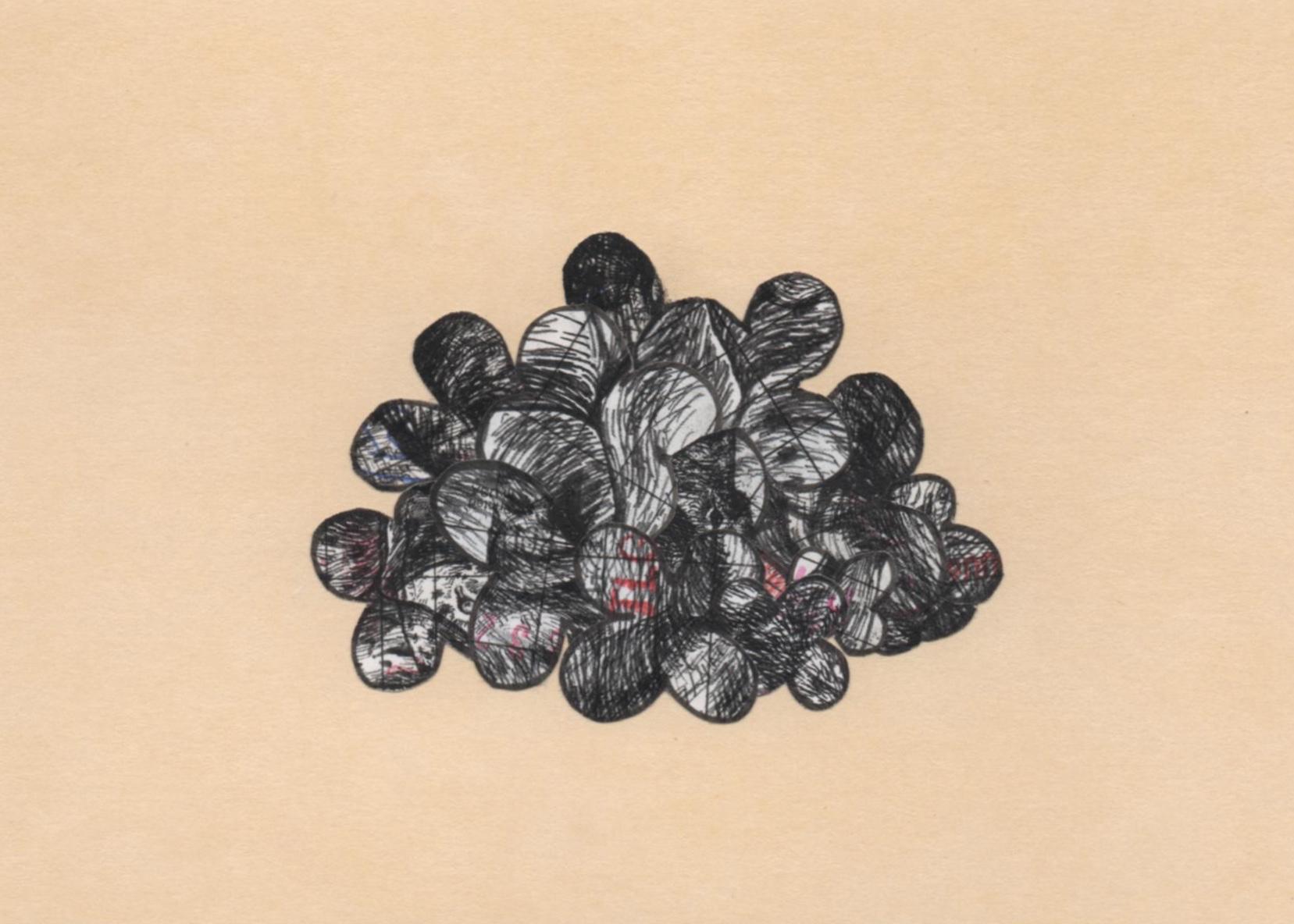 """with Katie McBride  HARDYWOOD GROßE TEUFEL  copier ink, pen ink, date due slips, board (collage/drawing) 4"""" x 6"""""""