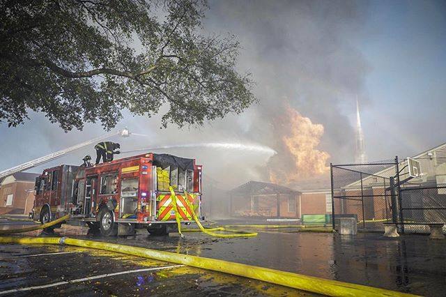 30+ companies responded from two cities this morning to a massive church fire. No injuries thus far! #chiefmiller #fire #firefighter