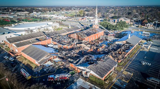 30 hours later and crews are still on scene of the massive blaze that destroyed most of @firstbossier Church and school. Thankfully no injuries during that time! #fire #chiefmiller #firefighter
