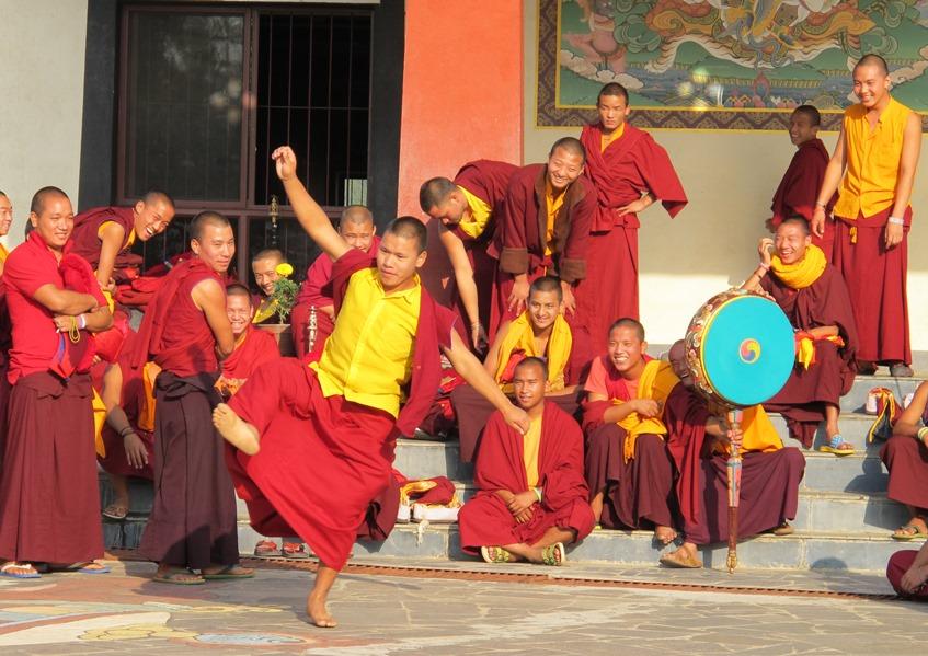 Young monks kicking back and relaxing during Mahalaya retreat.jpg