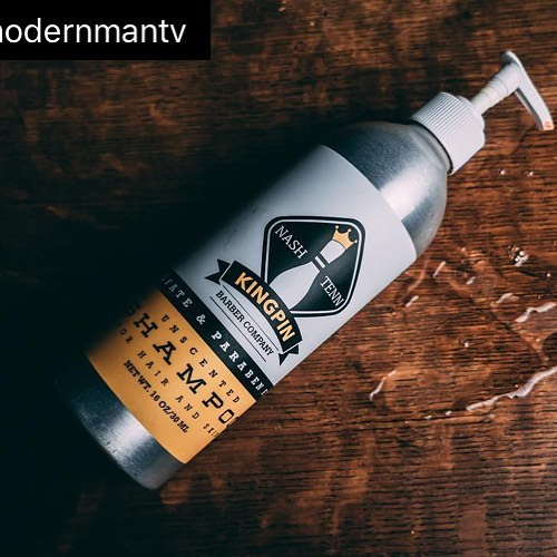 Cant wait to see what @modernmantv has to say about my Shampoo for Hair & Skin tomorrow!! . . . . . #nashville #local #mensgrooming #allnatural #kngpinbarberco #pinhead