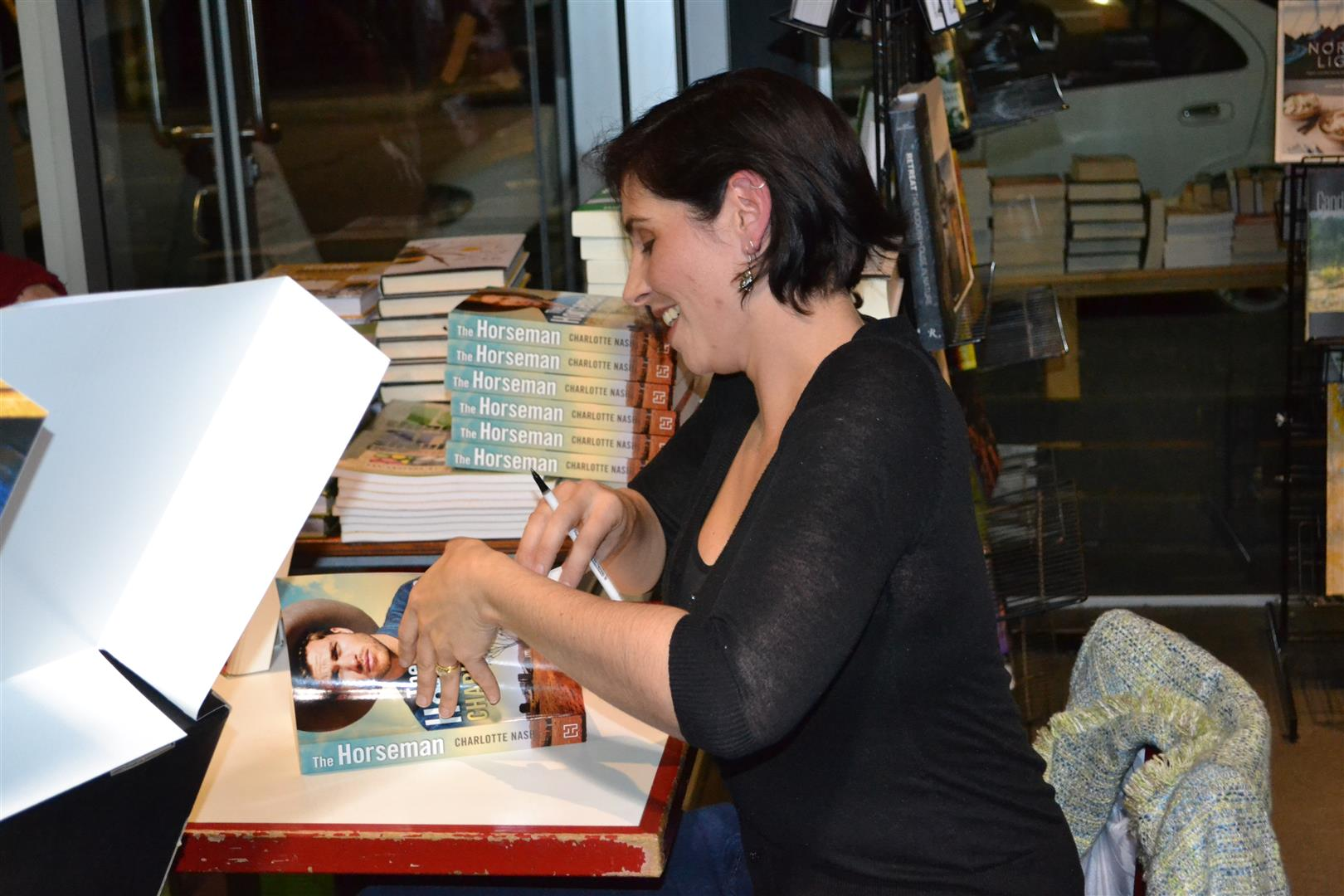 Signing books ...