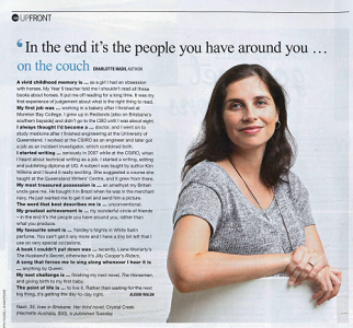 'On the couch' feature in the  The Courier-Mail 's QWeekend magazine, 2015