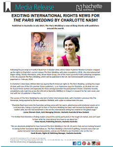 The Paris Wedding attracts overseas publishers - The Paris Wedding achieved international success in 2017 with sales to the USA, UK and Italy, a difficult-to-achieve feat for an Australian author.