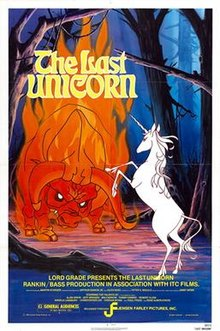 The Last Unicorn , with the source of many a childhood nightmare, the Red Bull. The Unicorn also comes sans rainbows … though according to the title song, she does sparkle.