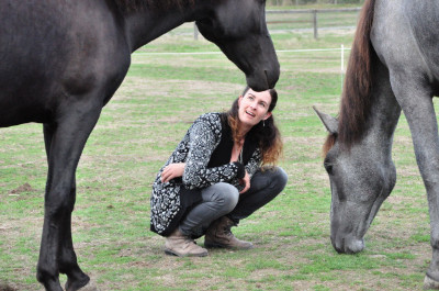 Mariette van den Berg,BAppSc., MSc. (Equine Nutrition), RAnNutr enjoys two Spanish-bred horses at their home in Enumclaw, WA