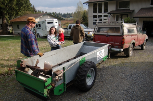 If you plan, or need to spread compost only once or twice a year, renting or sharing a compost spreader makes sense. The one shown here can be rented for free from the King Conservation District if you live in King County Washington.