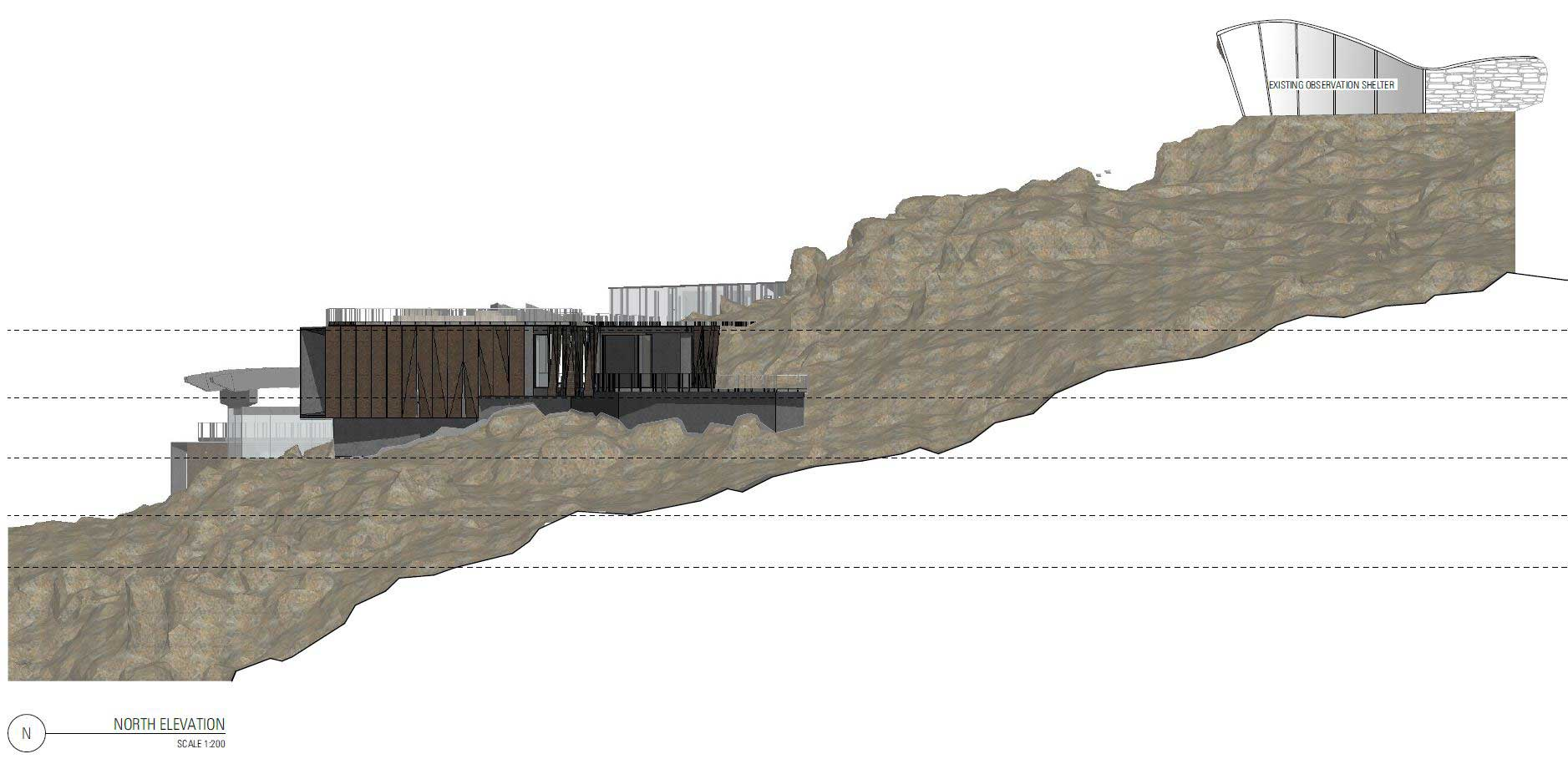 Optimising the natural tiers of the site has allowed the northern profile to sit discreetly within the landscape, which can be enhanced by the removal of the existing shelter. Be sure to check the   Visual Impact Analysis   to see the building in 3D from around Hobart.  CLICK TO ENLARGE