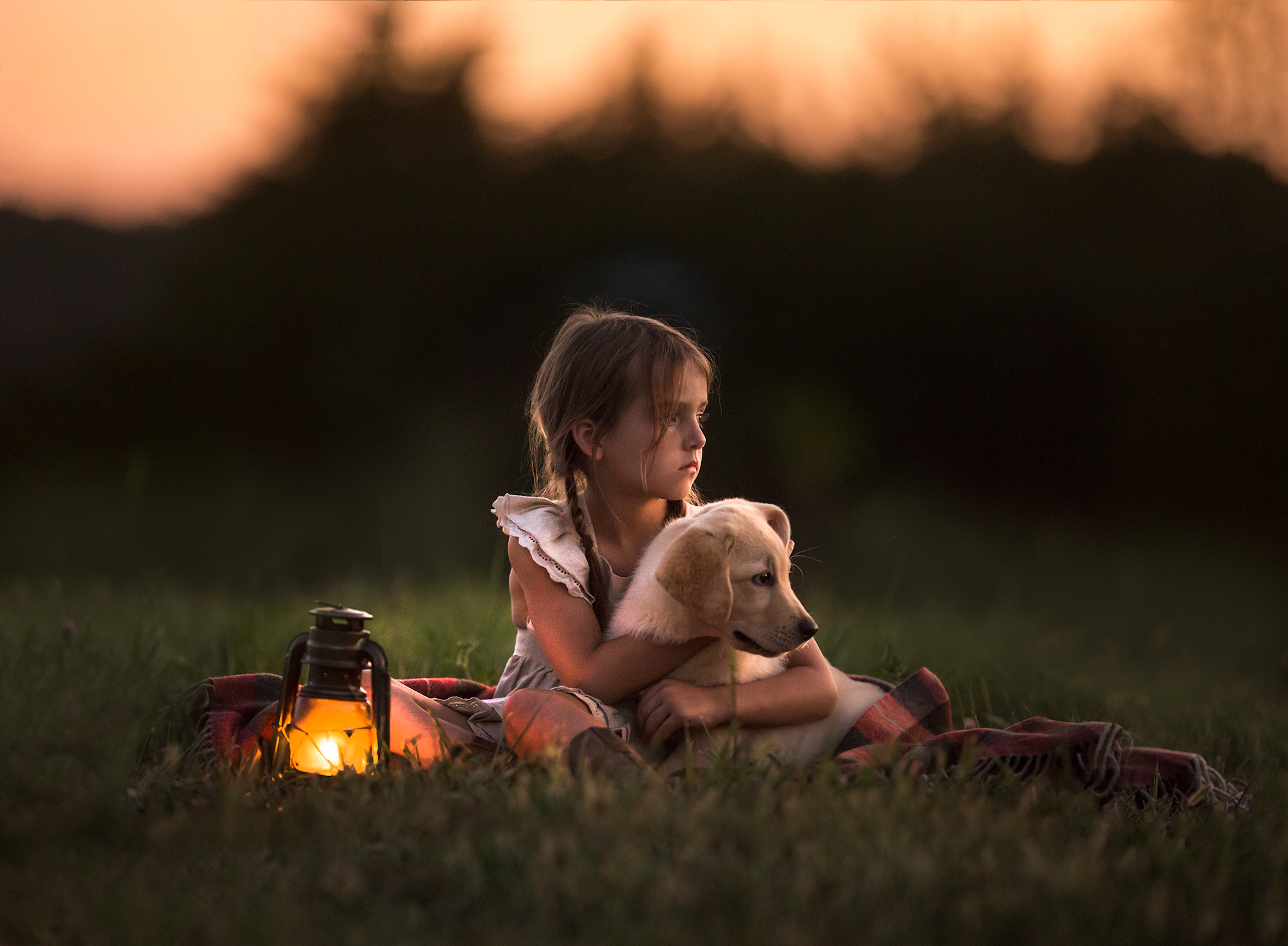 Portrait of a little girl with a puppy, photographed in Northern Virginia by Clare Ahalt Photography, a fine art photographer located in mid-maryland