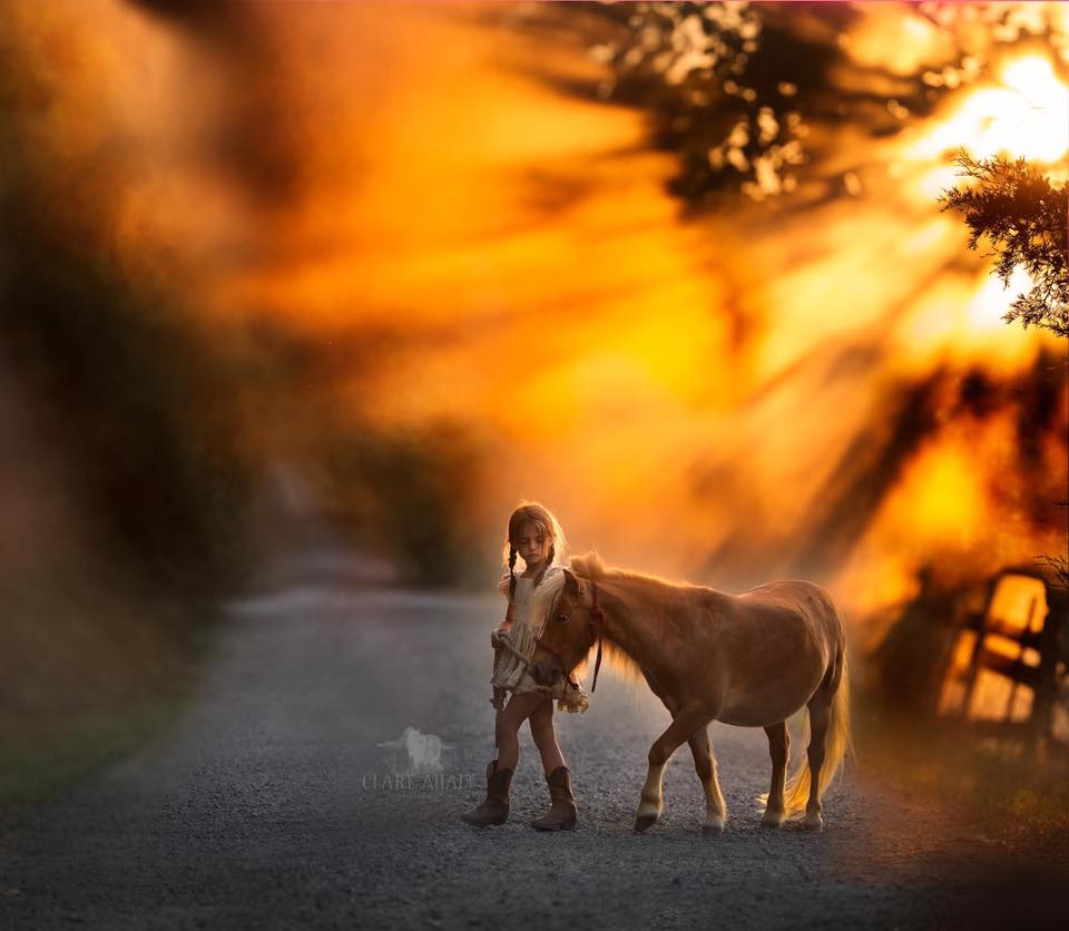 Portrait of a little girl with a pony, photographed in Northern Virginia by Clare Ahalt Photography, a fine art photographer located in mid-maryland