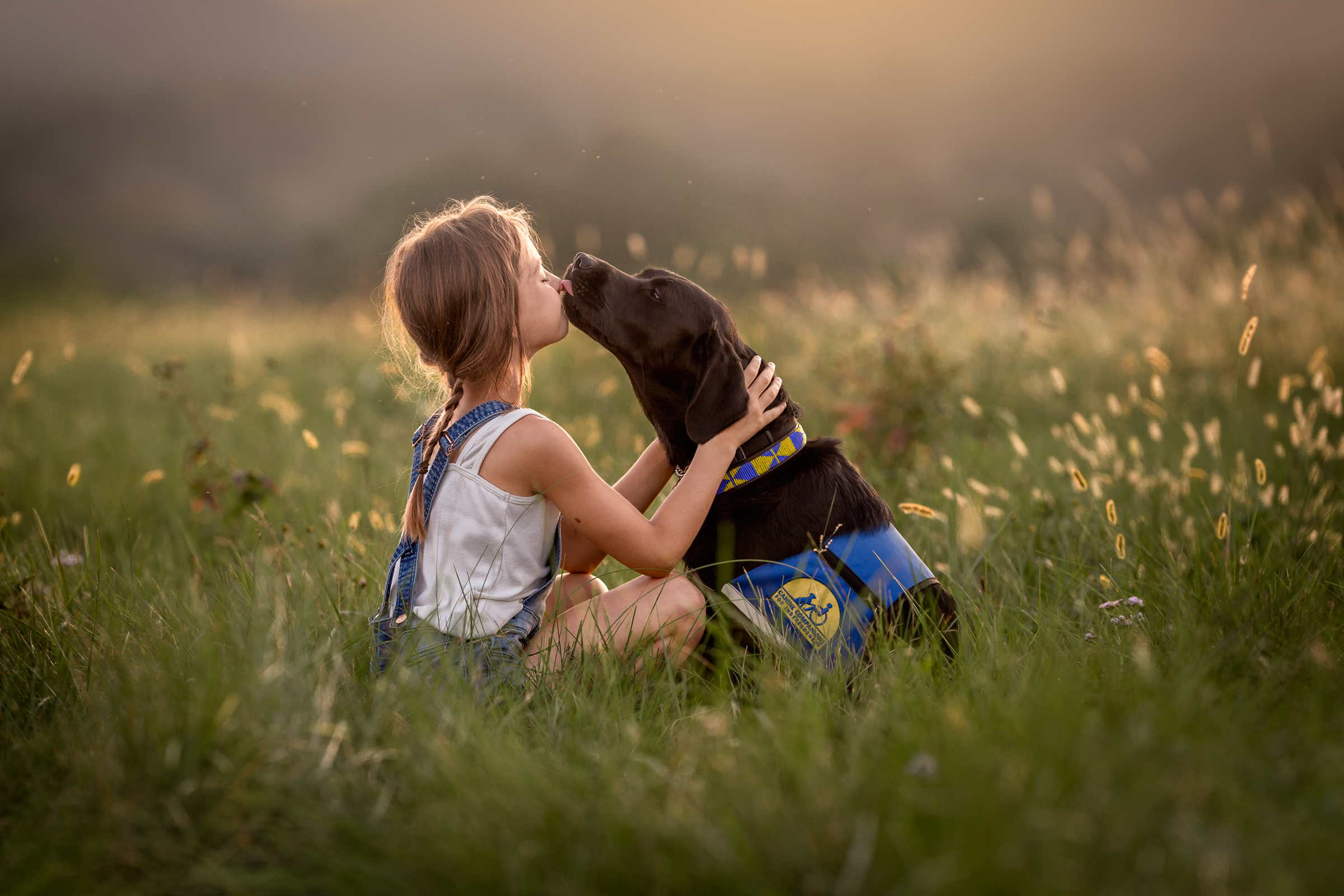 photograph of service dog licking a girls face in field in Potomac Maryland