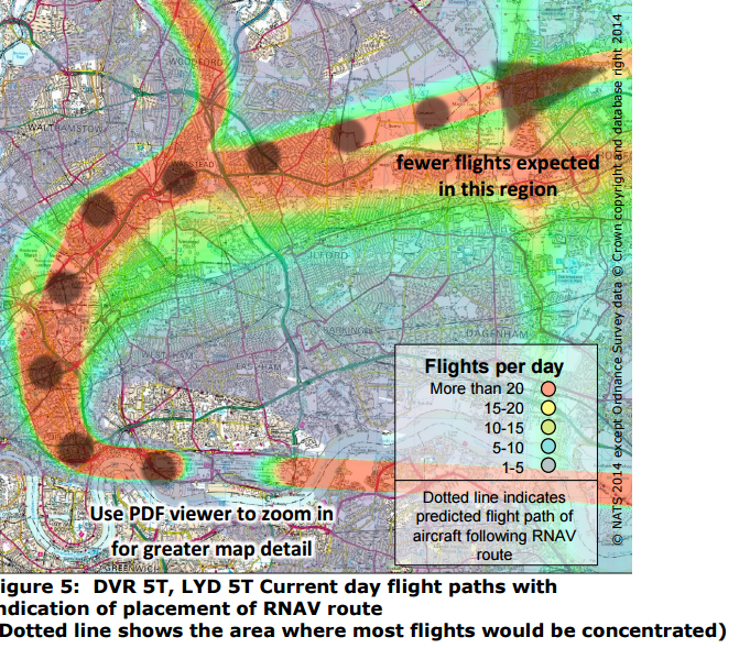 This map shows the current concentrated flight paths across north-east London