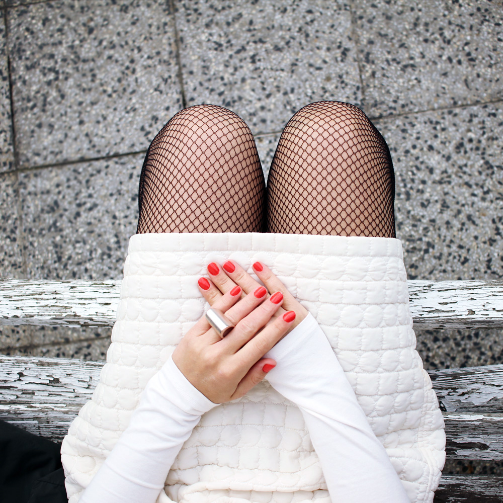 Skirt -  H&M , body -   Lull  , ring -  COS , nail polish -  Clinique , tights -   Asos