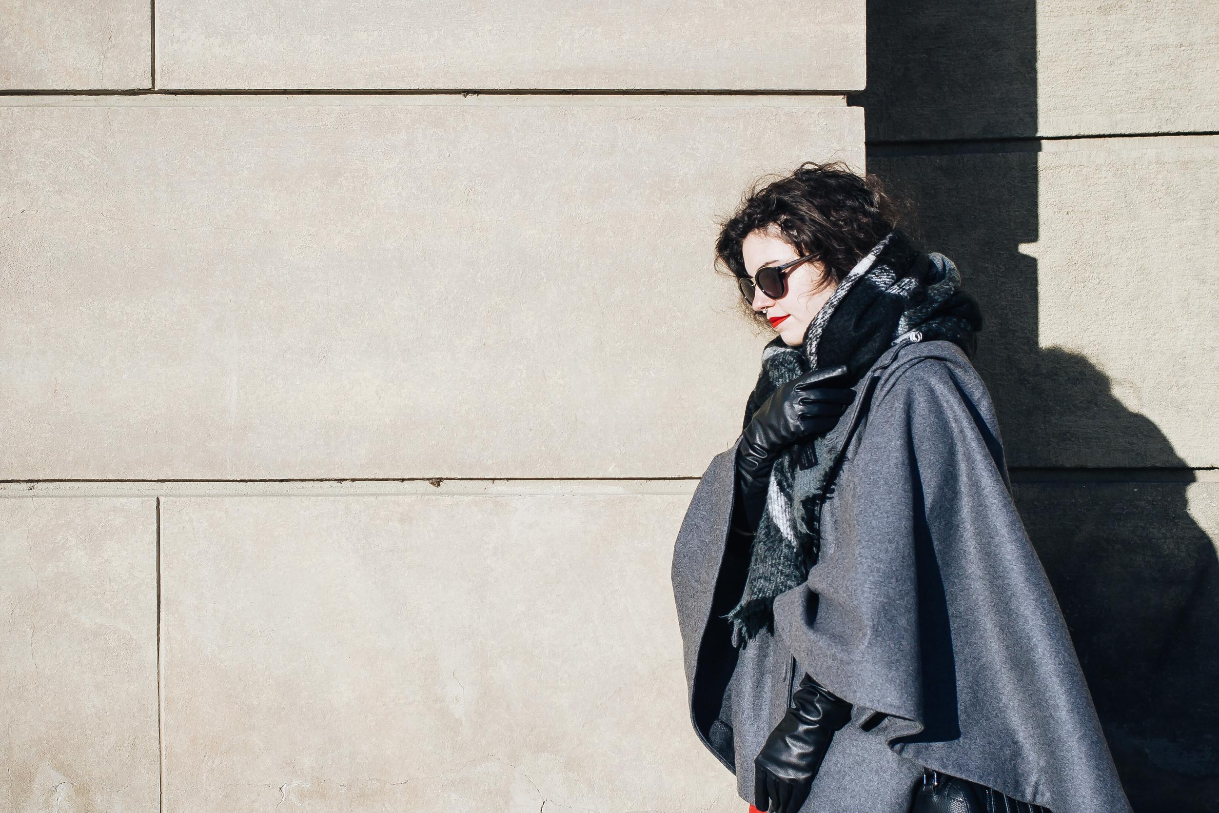 Cloak - H&M , scarf - Zara , gloves - F&F ,Retro Matte Liquid Lipstick by  MAC , sunglasses - Sass & Bide , mini septum -  ANTIPEARLE