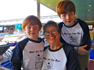 Suzan Fincher, a.k.a. Nana, with our boys in 2010, celebrating her 50th wedding anniversary with her husband. Suzan was killed Dec. 27, 2011. We miss her beyond words….