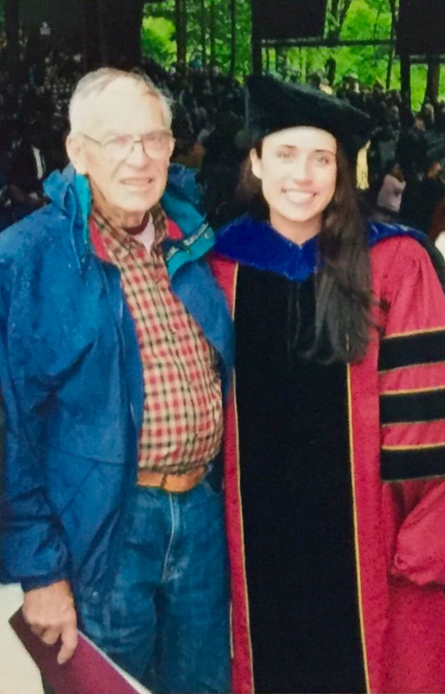 Papa with his granddaughter Courtney Merriman at her law school graduation in 2006