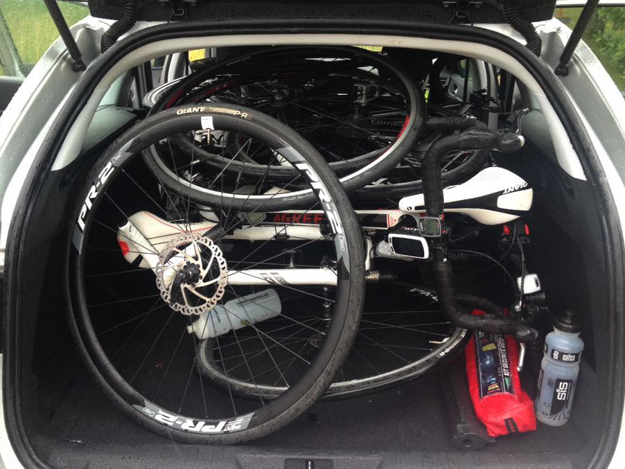 Pro-tip: taking off all of the wheels will allow you to fit five bikes into a Renault Clio