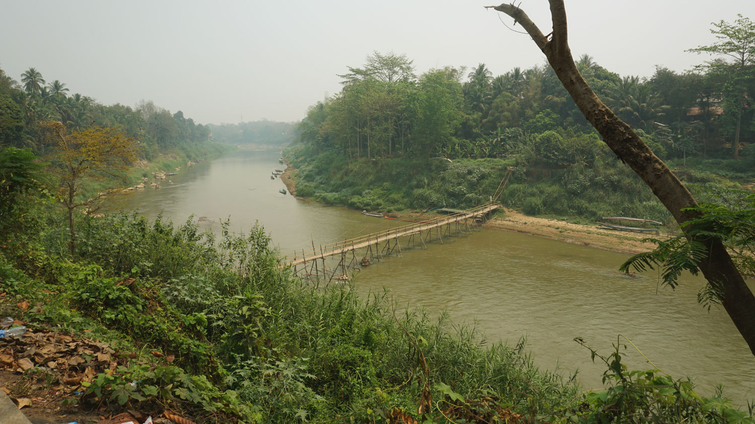 Bamboo bridge over the Mekong River