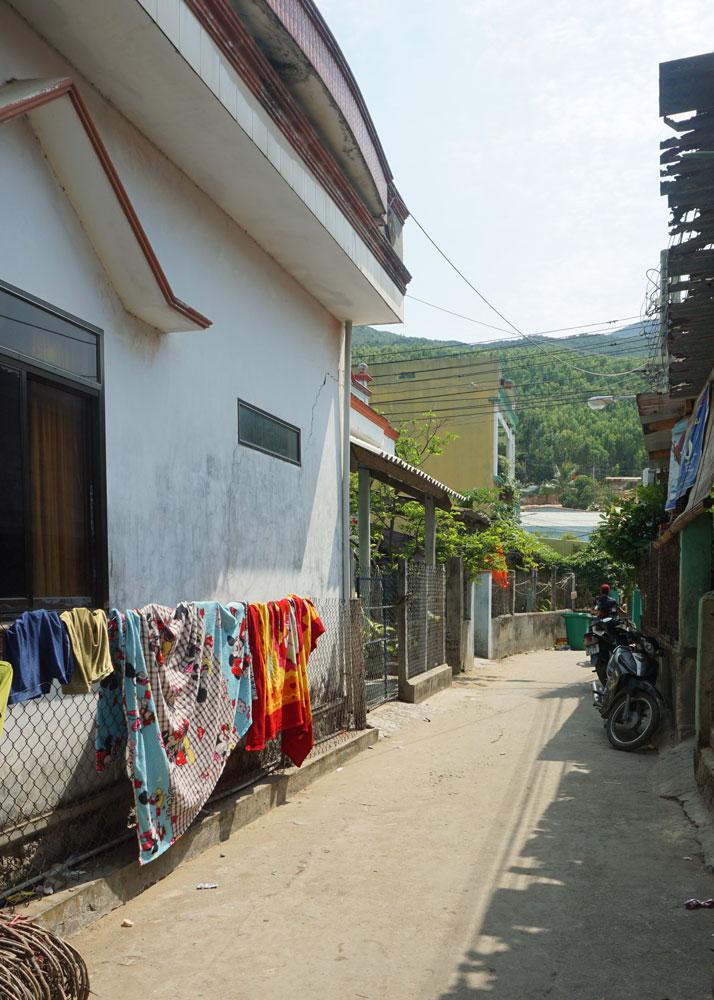 Walking through the tiny village