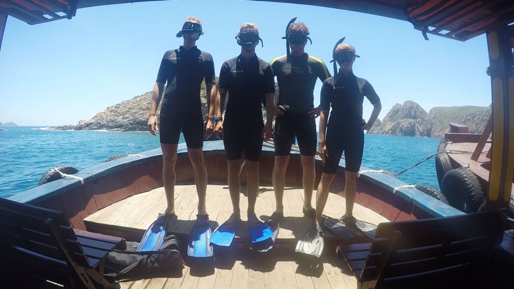 Fashionable snorkeling gear (I'm the short one on the right)